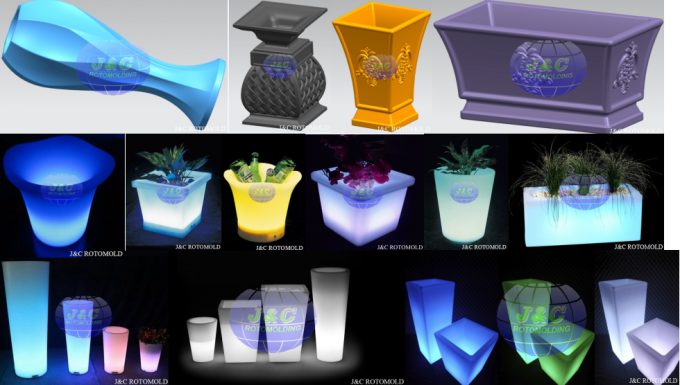 LLDPE Plastic LED Square Garden Pots And Planters By Precision Rotational Molding